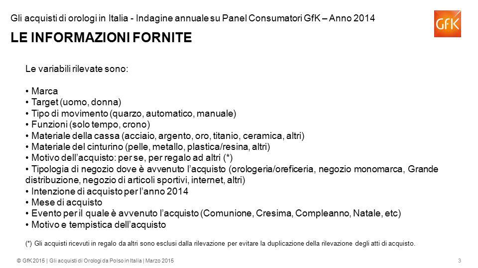 3© GfK 2015 | Gli acquisti di Orologi da Polso in Italia | Marzo 2015 Le variabili rilevate sono: Marca Target (uomo, donna) Tipo di movimento (quarzo
