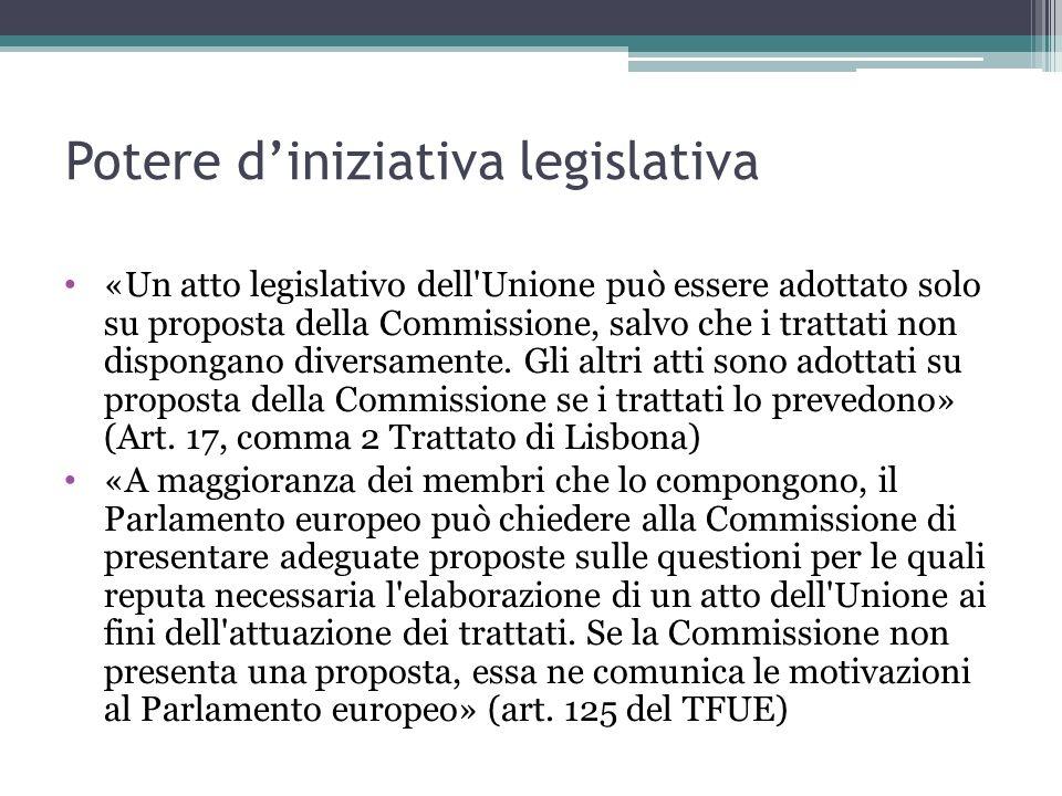Potere d'iniziativa legislativa «Un atto legislativo dell'Unione può essere adottato solo su proposta della Commissione, salvo che i trattati non disp