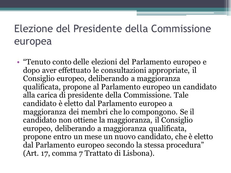 Elezione del Presidente della Commissione europea Tenuto conto delle elezioni del Parlamento europeo e dopo aver effettuato le consultazioni appropriate, il Consiglio europeo, deliberando a maggioranza qualificata, propone al Parlamento europeo un candidato alla carica di presidente della Commissione.