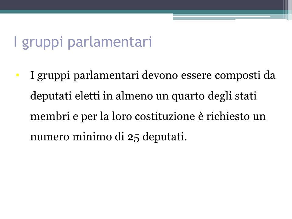 I gruppi parlamentari I gruppi parlamentari devono essere composti da deputati eletti in almeno un quarto degli stati membri e per la loro costituzione è richiesto un numero minimo di 25 deputati.