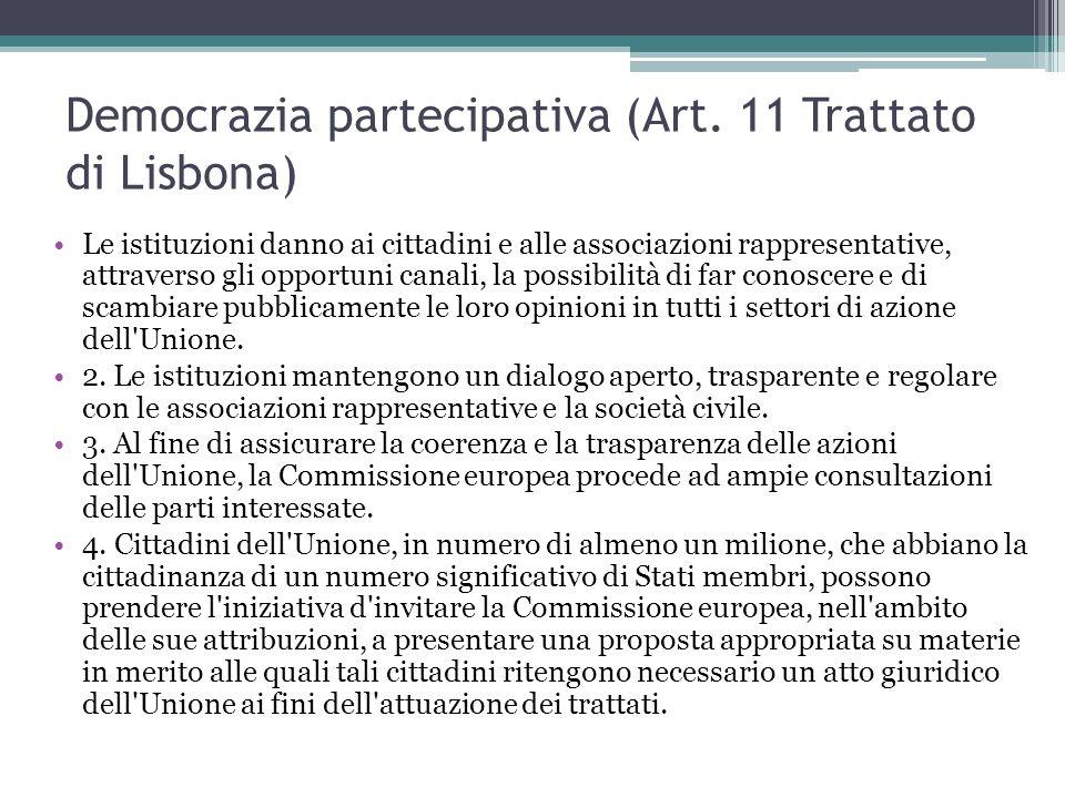 Democrazia partecipativa (Art. 11 Trattato di Lisbona) Le istituzioni danno ai cittadini e alle associazioni rappresentative, attraverso gli opportuni