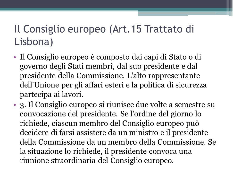 Il Consiglio europeo (Art.15 Trattato di Lisbona) Il Consiglio europeo è composto dai capi di Stato o di governo degli Stati membri, dal suo presidente e dal presidente della Commissione.