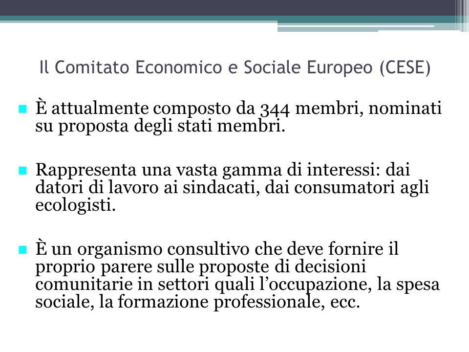 Il Comitato Economico e Sociale Europeo (CESE) È attualmente composto da 344 membri, nominati su proposta degli stati membri. Rappresenta una vasta ga