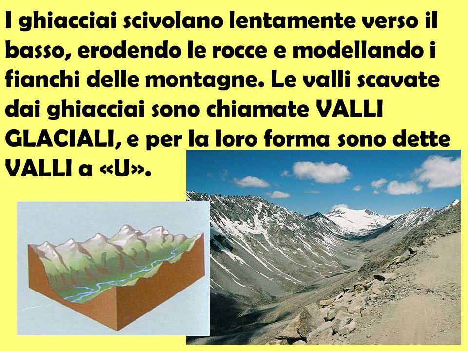 I ghiacciai scivolano lentamente verso il basso, erodendo le rocce e modellando i fianchi delle montagne. Le valli scavate dai ghiacciai sono chiamate