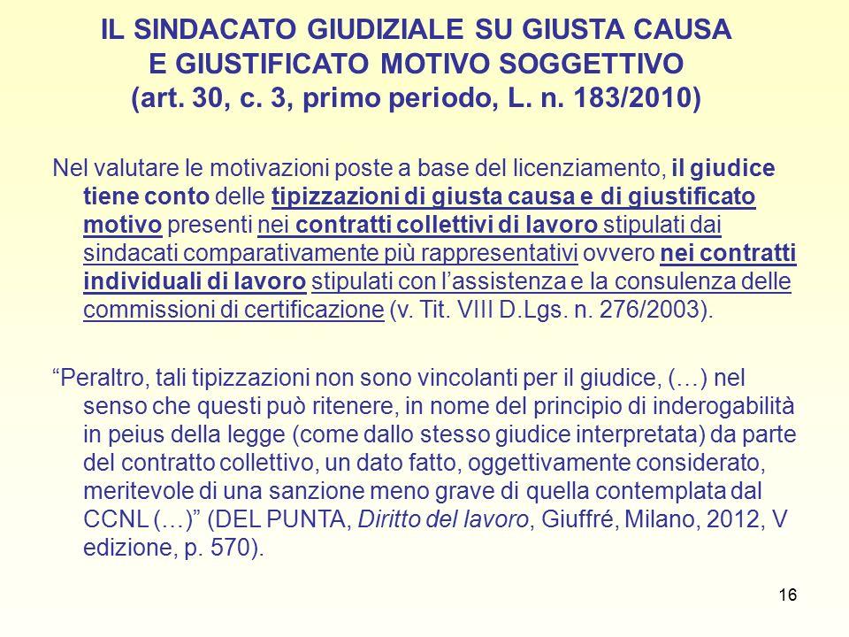 16 IL SINDACATO GIUDIZIALE SU GIUSTA CAUSA E GIUSTIFICATO MOTIVO SOGGETTIVO (art.
