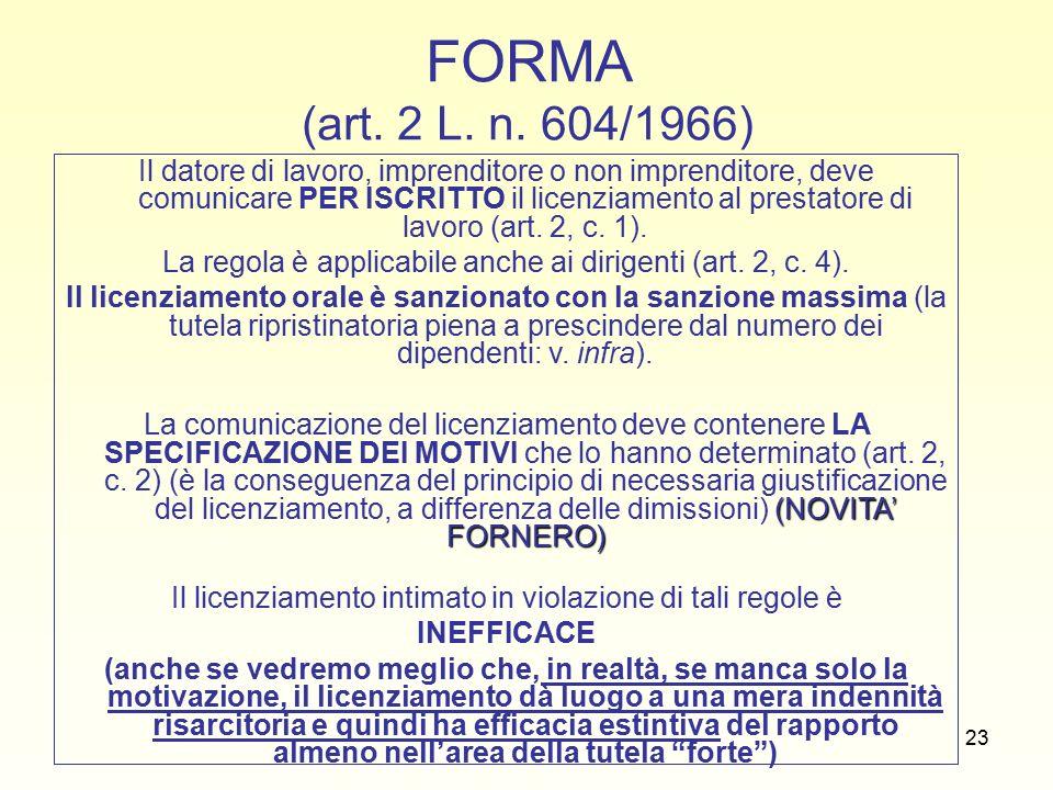23 FORMA (art. 2 L. n.