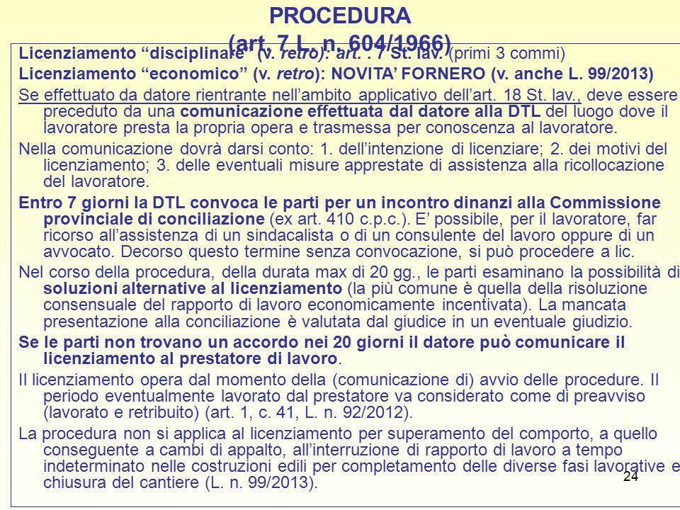24 PROCEDURA (art. 7 L. n. 604/1966) Licenziamento disciplinare (v.