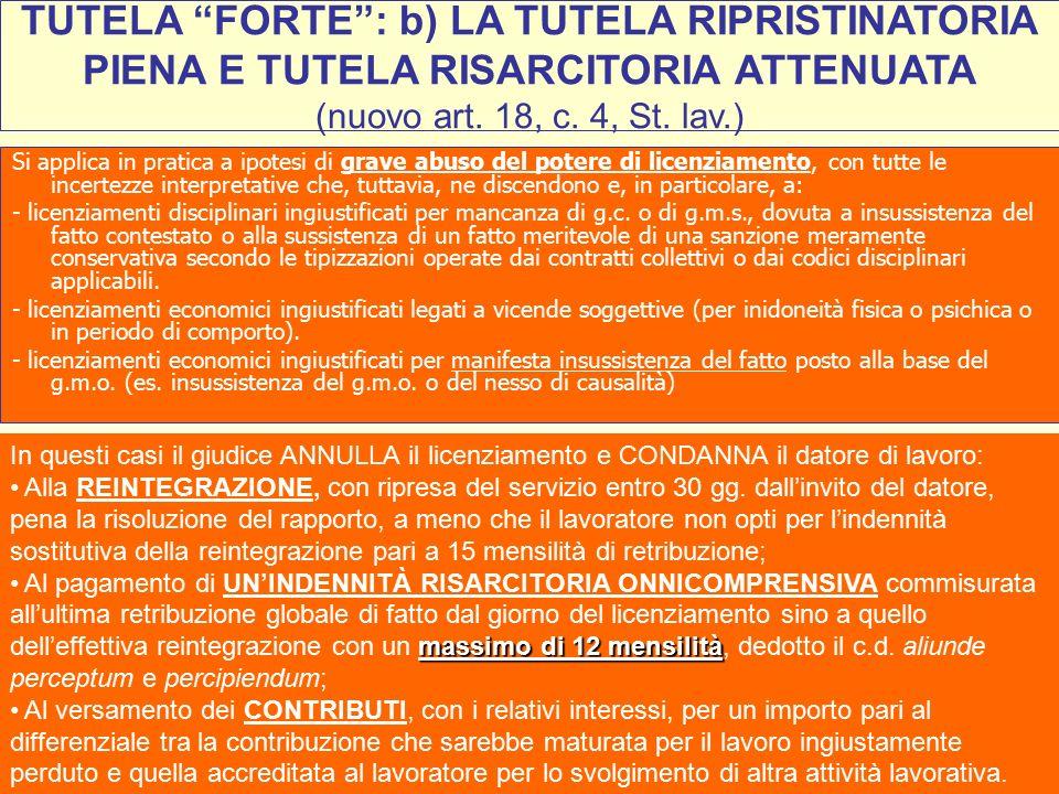 33 TUTELA FORTE : b) LA TUTELA RIPRISTINATORIA PIENA E TUTELA RISARCITORIA ATTENUATA (nuovo art.