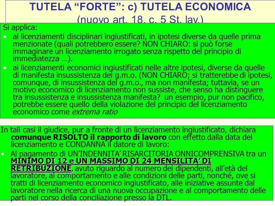 34 TUTELA FORTE : c) TUTELA ECONOMICA (nuovo art.