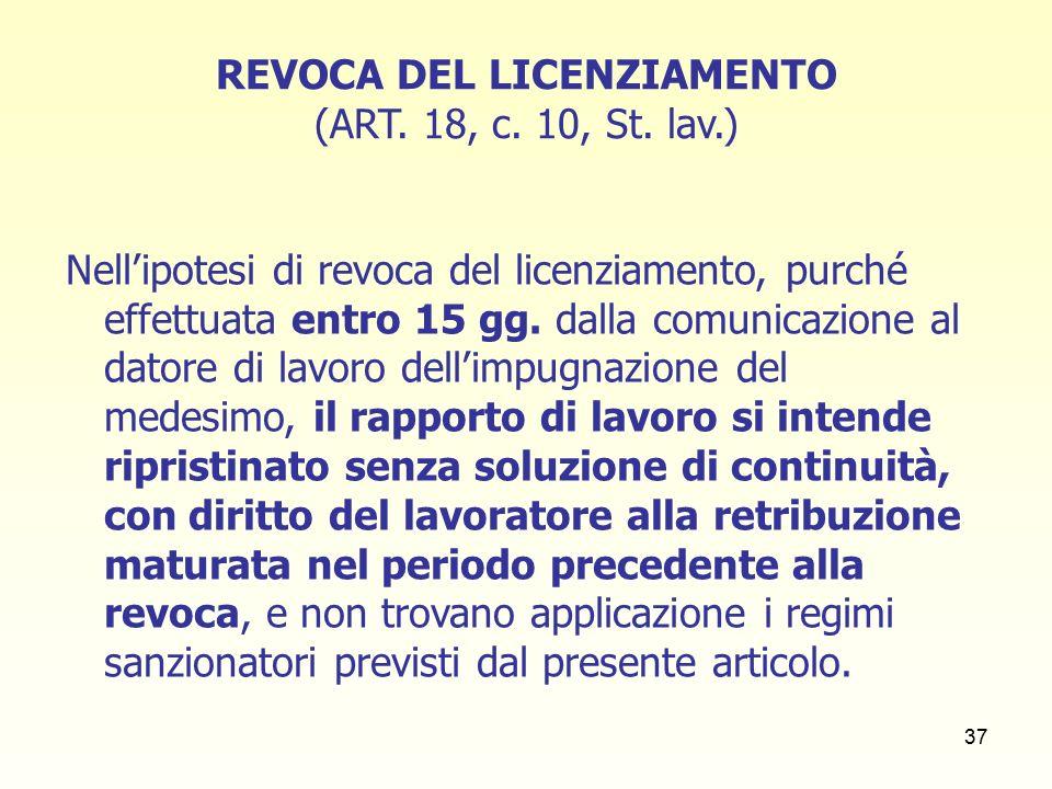 37 REVOCA DEL LICENZIAMENTO (ART. 18, c. 10, St.