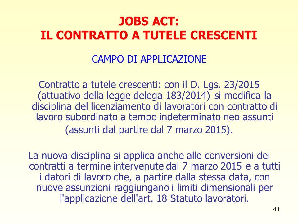 41 JOBS ACT: IL CONTRATTO A TUTELE CRESCENTI CAMPO DI APPLICAZIONE Contratto a tutele crescenti: con il D.
