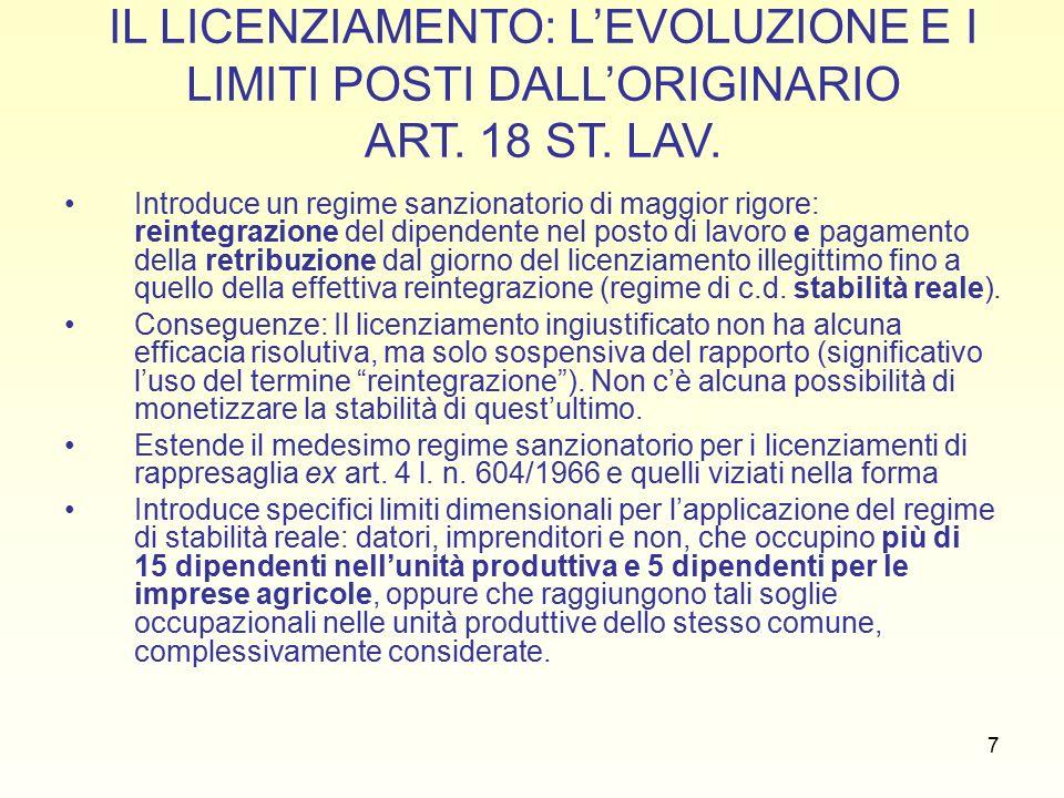 18 IL GIUSTIFICATO MOTIVO OGGETTIVO (artt.3 L. n.