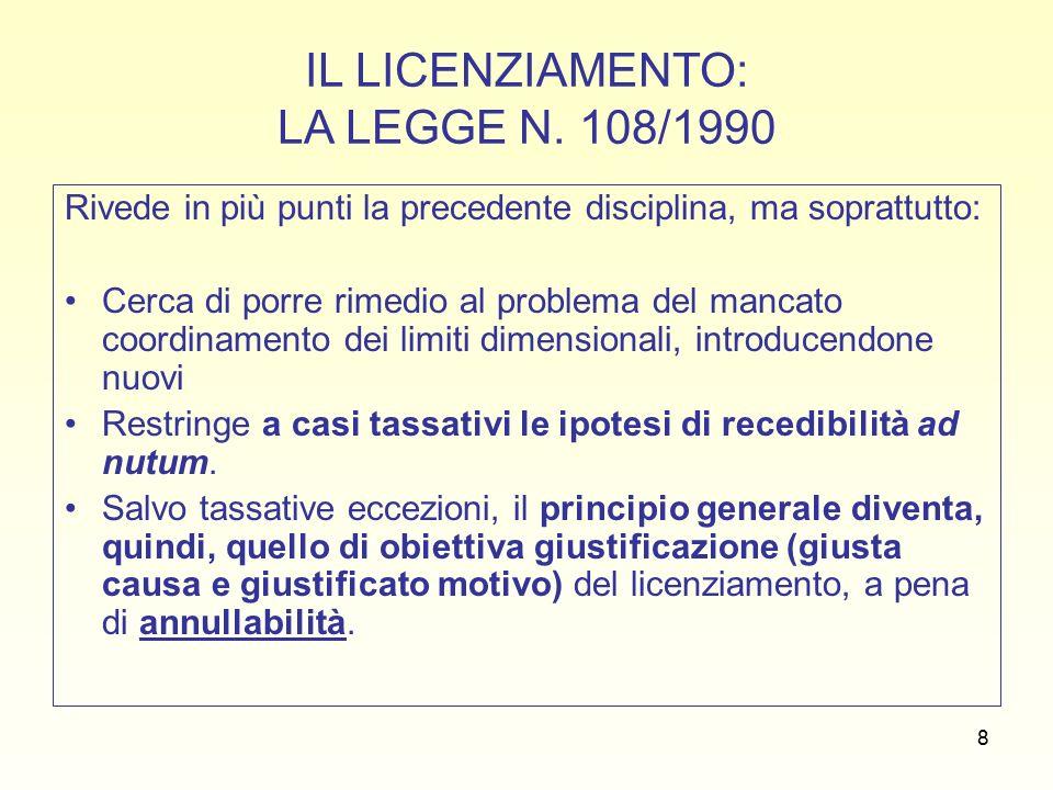 39 SEGUE: TUTELA DEBOLE (artt.8 L. n. 604/1966 e 30, c.