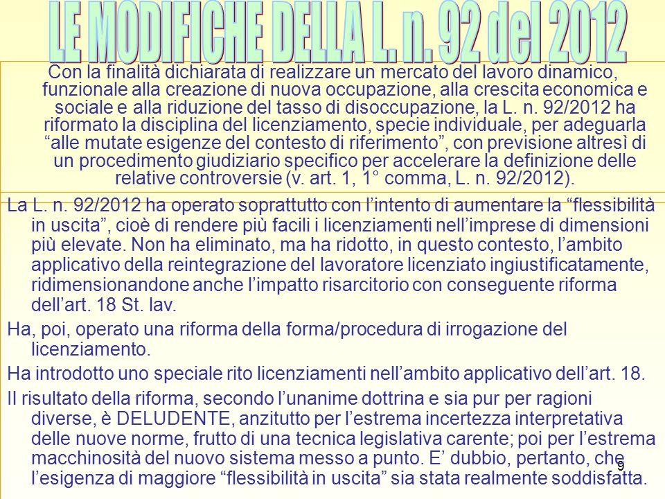 40 RECESSO AD NUTUM (artt.2118 cod. civ., 10 L. n.