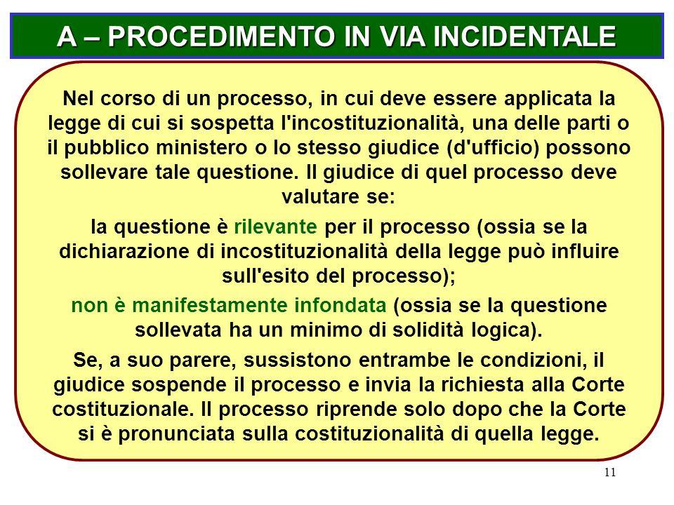 11 A – PROCEDIMENTO IN VIA INCIDENTALE Nel corso di un processo, in cui deve essere applicata la legge di cui si sospetta l'incostituzionalità, una de