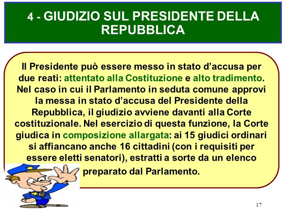 17 4 - GIUDIZIO SUL PRESIDENTE DELLA REPUBBLICA Il Presidente può essere messo in stato d'accusa per due reati: attentato alla Costituzione e alto tra