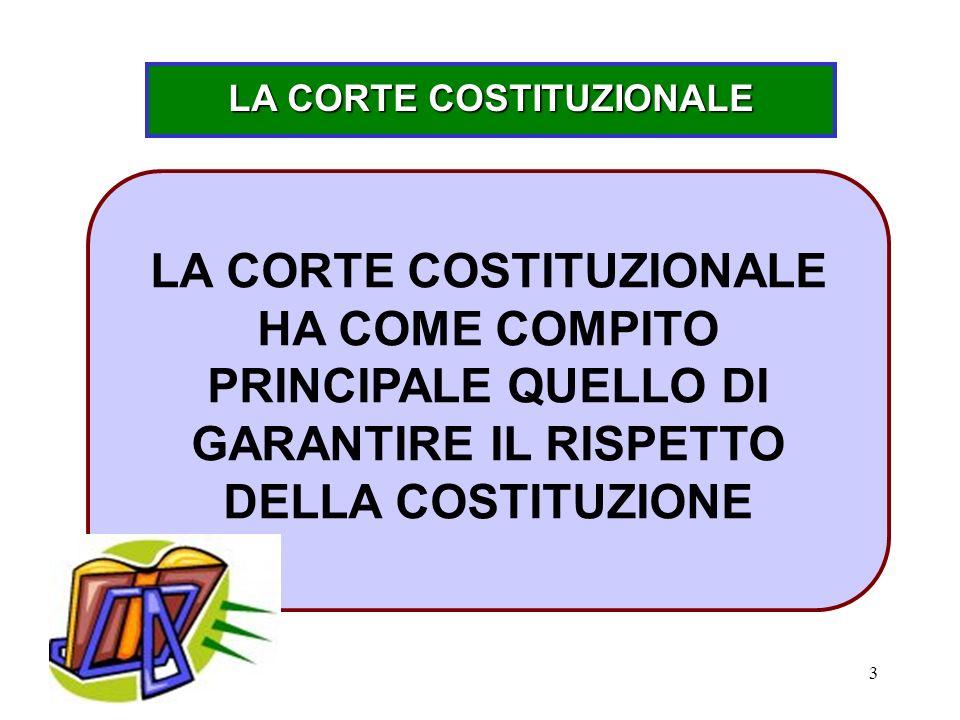 3 LA CORTE COSTITUZIONALE LA CORTE COSTITUZIONALE HA COME COMPITO PRINCIPALE QUELLO DI GARANTIRE IL RISPETTO DELLA COSTITUZIONE