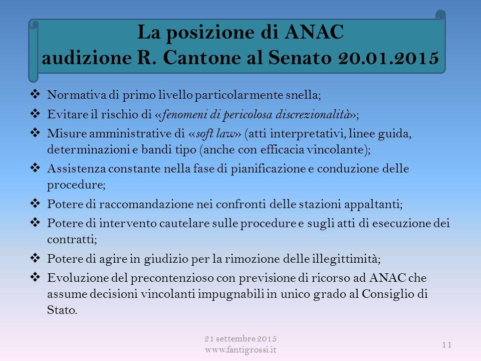 La posizione di ANAC audizione R.