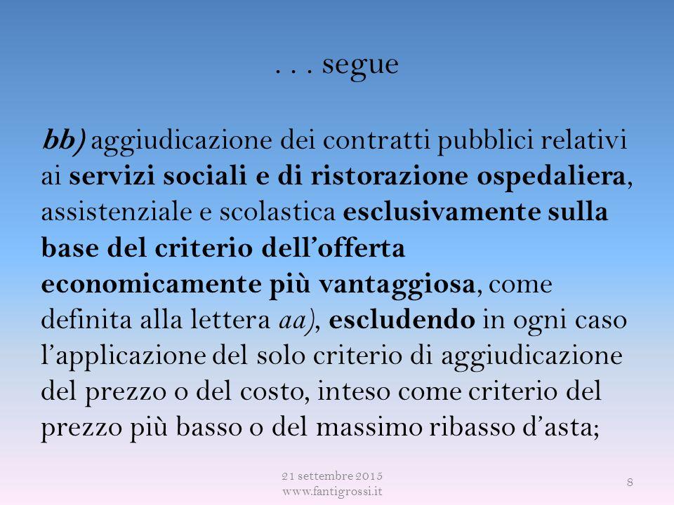 ... segue bb) aggiudicazione dei contratti pubblici relativi ai servizi sociali e di ristorazione ospedaliera, assistenziale e scolastica esclusivamen