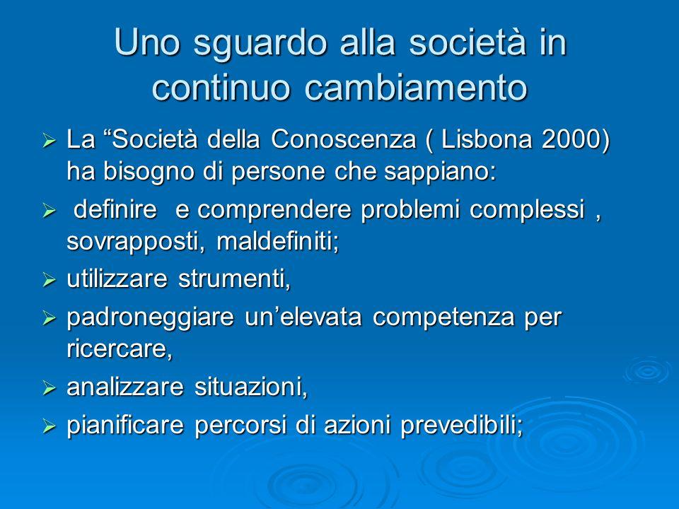 """Uno sguardo alla società in continuo cambiamento  La """"Società della Conoscenza ( Lisbona 2000) ha bisogno di persone che sappiano:  definire e compr"""