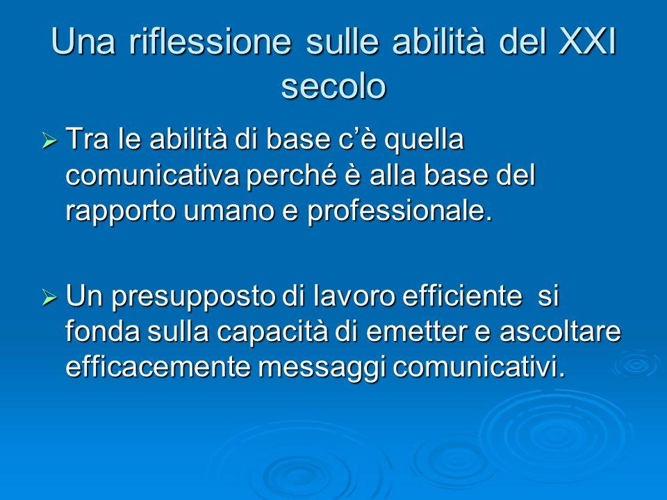 Una riflessione sulle abilità del XXI secolo  Tra le abilità di base c'è quella comunicativa perché è alla base del rapporto umano e professionale. 