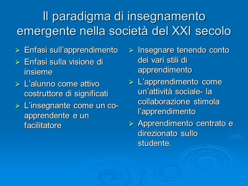 Il paradigma di insegnamento emergente nella società del XXI secolo  Enfasi sull'apprendimento  Enfasi sulla visione di insieme  L'alunno come atti