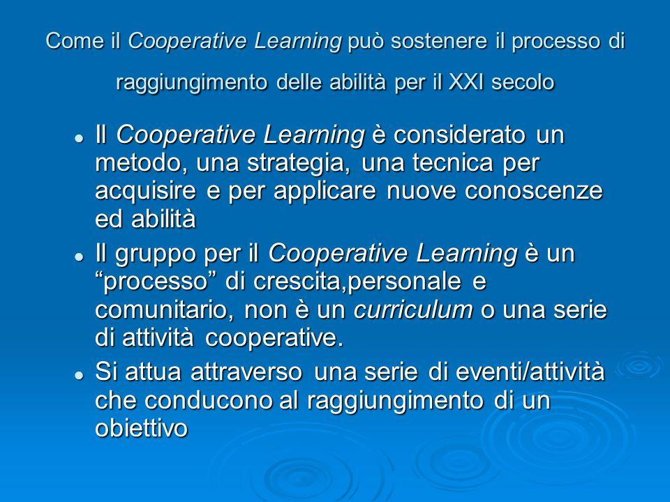 Come il Cooperative Learning può sostenere il processo di raggiungimento delle abilità per il XXI secolo Il Cooperative Learning è considerato un meto