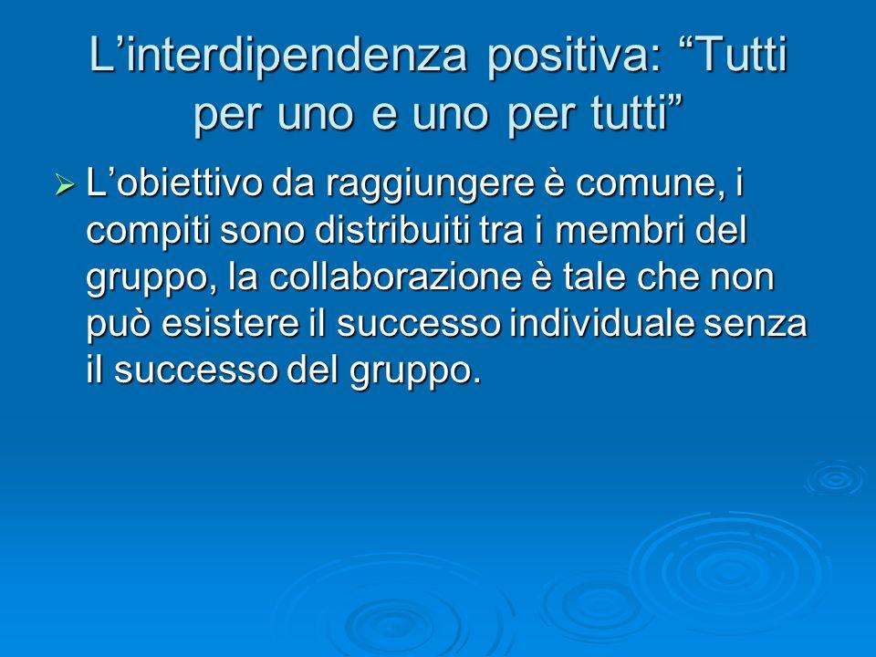  L'obiettivo da raggiungere è comune, i compiti sono distribuiti tra i membri del gruppo, la collaborazione è tale che non può esistere il successo i
