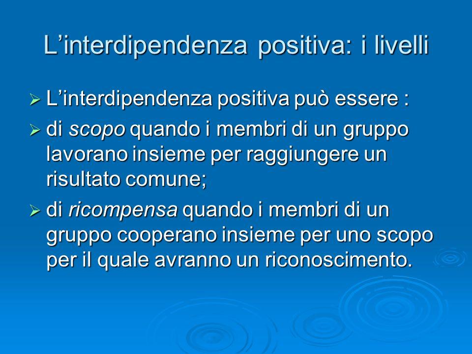 L'interdipendenza positiva: i livelli  L'interdipendenza positiva può essere :  di scopo quando i membri di un gruppo lavorano insieme per raggiunge