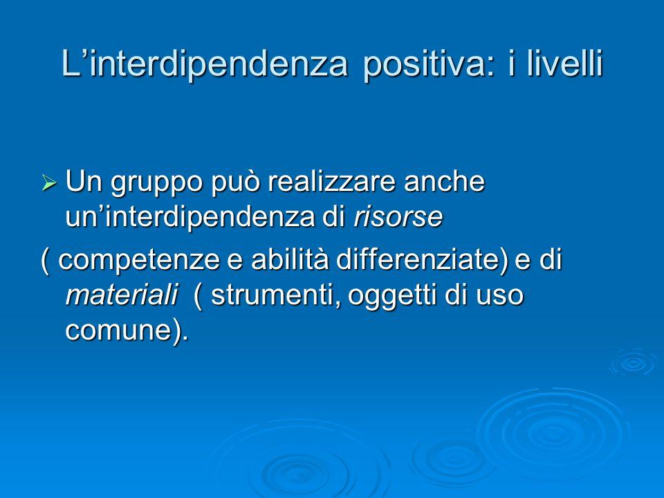 L'interdipendenza positiva: i livelli  Un gruppo può realizzare anche un'interdipendenza di risorse ( competenze e abilità differenziate) e di materi