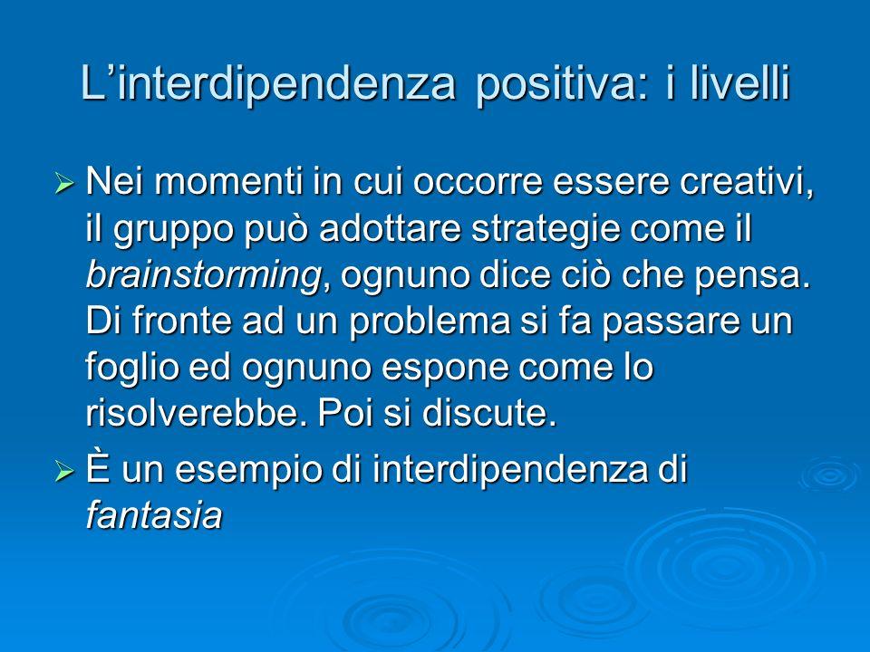 L'interdipendenza positiva: i livelli  Nei momenti in cui occorre essere creativi, il gruppo può adottare strategie come il brainstorming, ognuno dic