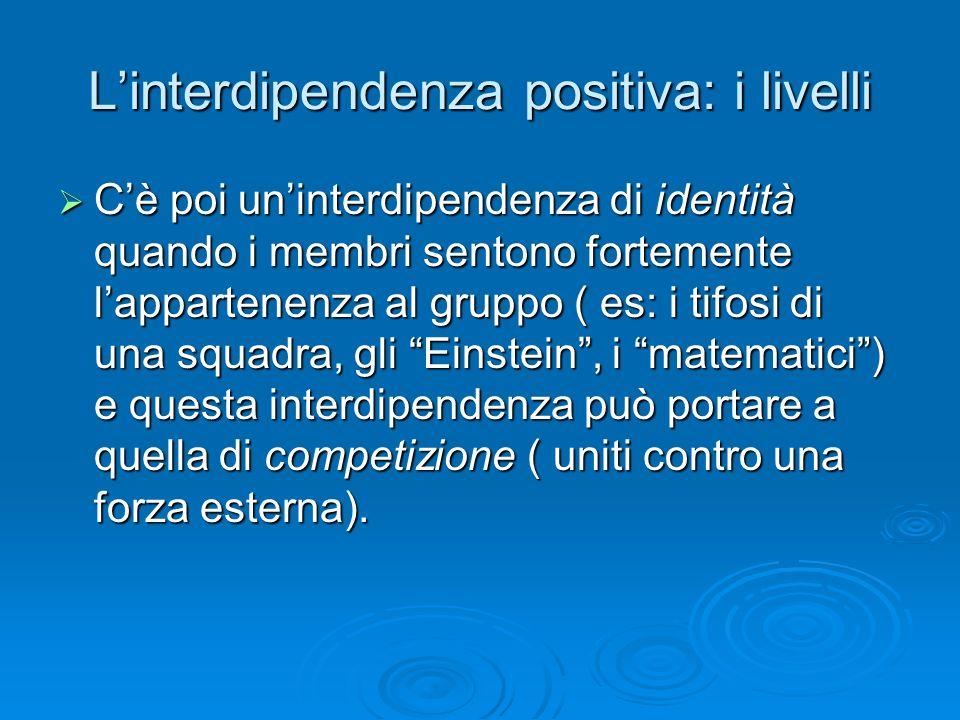 L'interdipendenza positiva: i livelli  C'è poi un'interdipendenza di identità quando i membri sentono fortemente l'appartenenza al gruppo ( es: i tif