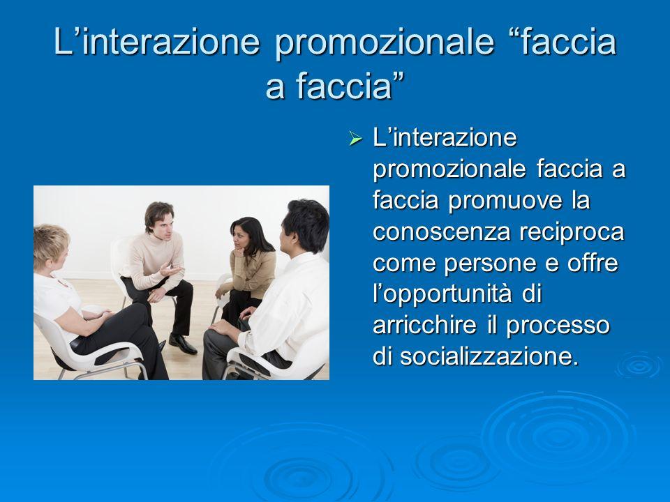 """L'interazione promozionale """"faccia a faccia""""  L'interazione promozionale faccia a faccia promuove la conoscenza reciproca come persone e offre l'oppo"""