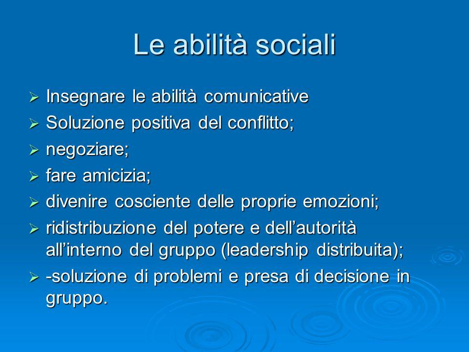 Le abilità sociali  Insegnare le abilità comunicative  Soluzione positiva del conflitto;  negoziare;  fare amicizia;  divenire cosciente delle pr