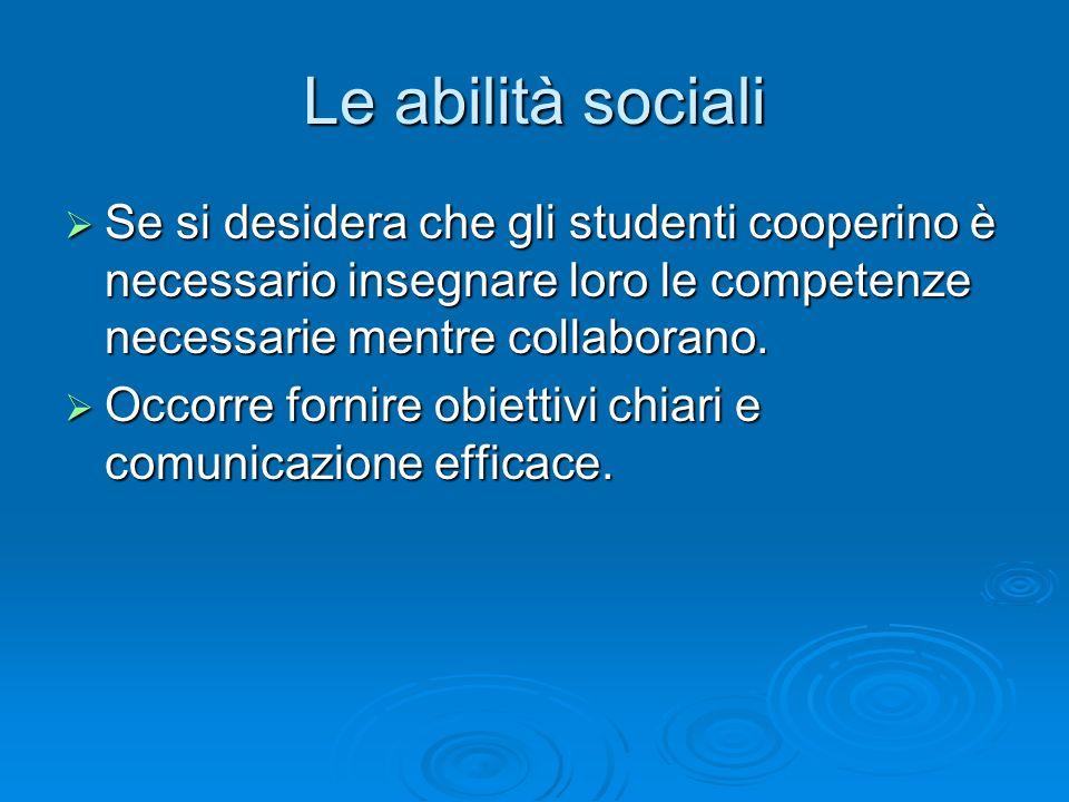 Le abilità sociali  Se si desidera che gli studenti cooperino è necessario insegnare loro le competenze necessarie mentre collaborano.  Occorre forn