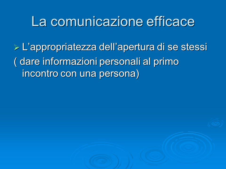 La comunicazione efficace  L'appropriatezza dell'apertura di se stessi ( dare informazioni personali al primo incontro con una persona)