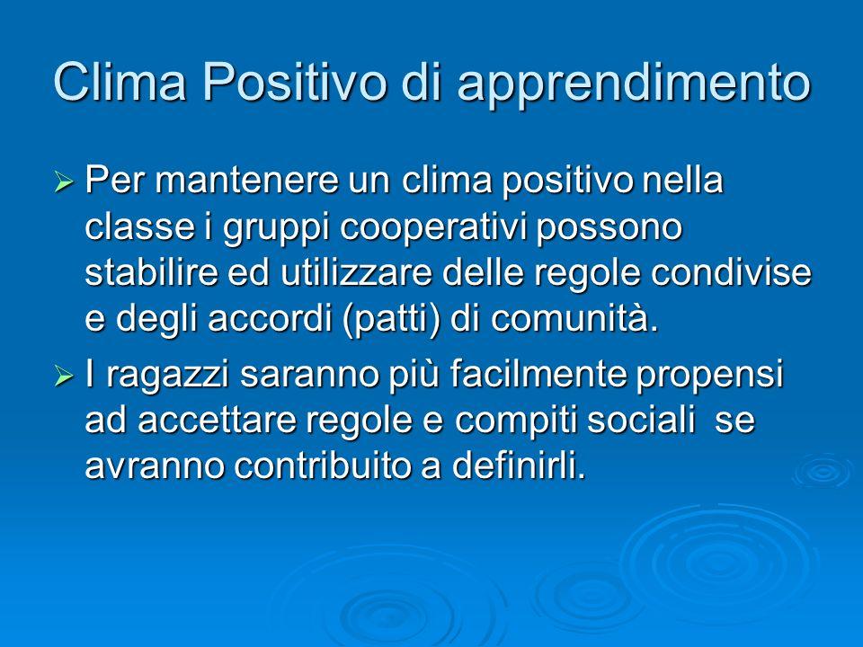 Clima Positivo di apprendimento  Per mantenere un clima positivo nella classe i gruppi cooperativi possono stabilire ed utilizzare delle regole condi