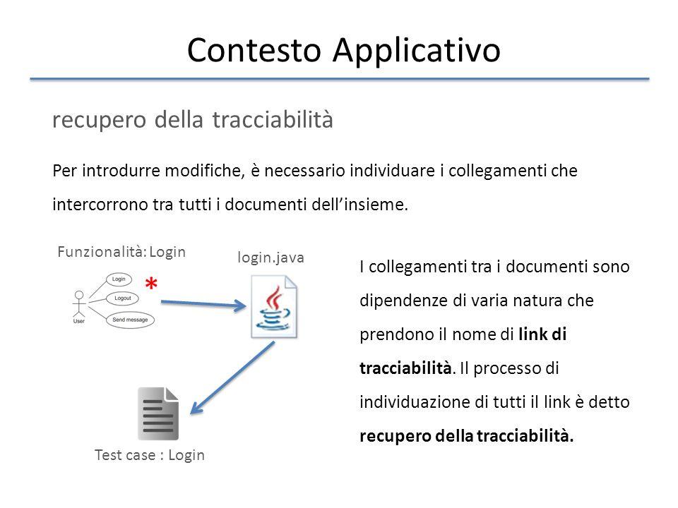 Contesto Applicativo recupero della tracciabilità Per introdurre modifiche, è necessario individuare i collegamenti che intercorrono tra tutti i documenti dell'insieme.