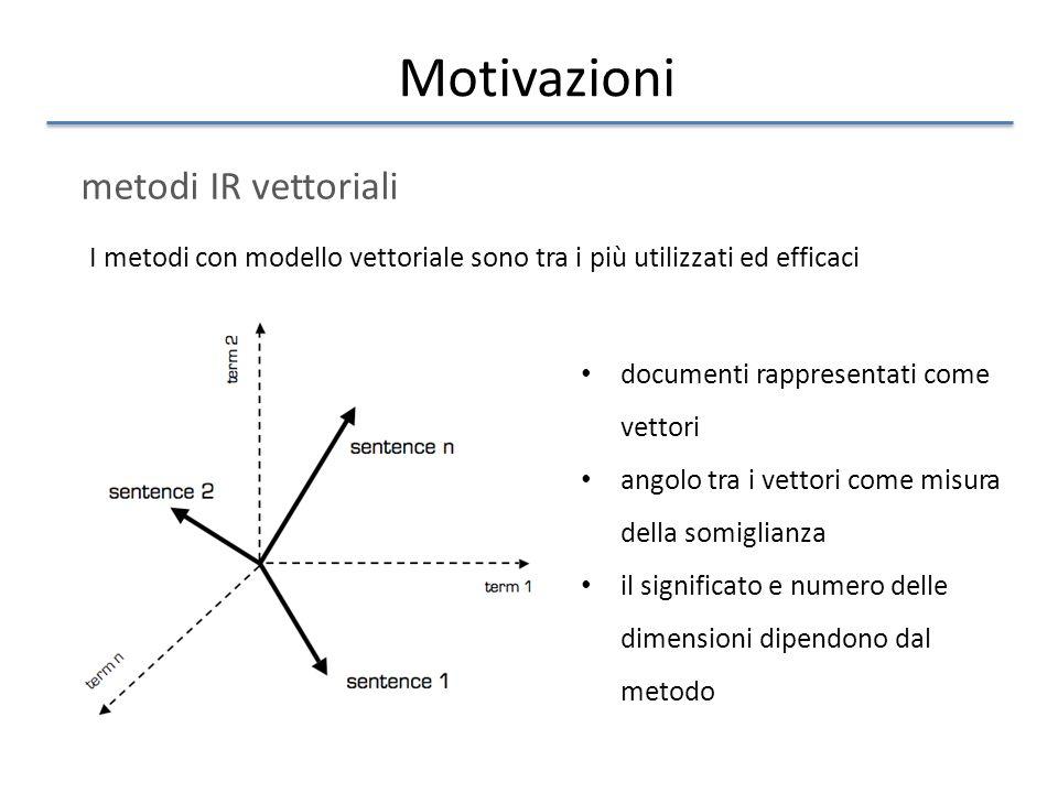 Motivazioni metodi IR vettoriali I metodi con modello vettoriale sono tra i più utilizzati ed efficaci documenti rappresentati come vettori angolo tra