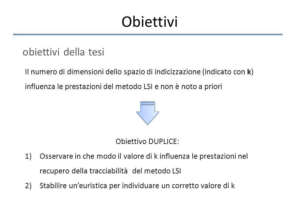 Obiettivi obiettivi della tesi Il numero di dimensioni dello spazio di indicizzazione (indicato con k) influenza le prestazioni del metodo LSI e non è