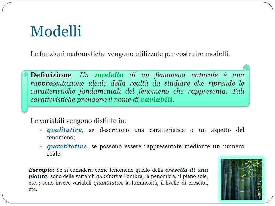 Modelli Le funzioni matematiche vengono utilizzate per costruire modelli. Definizione: Un modello di un fenomeno naturale è una rappresentazione ideal