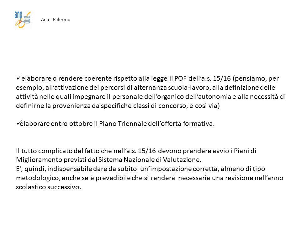 Anp - Palermo elaborare o rendere coerente rispetto alla legge il POF dell'a.s. 15/16 (pensiamo, per esempio, all'attivazione dei percorsi di alternan