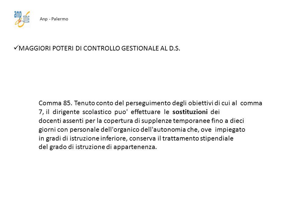 Anp - Palermo MAGGIORI POTERI DI CONTROLLO GESTIONALE AL D.S. Comma 85. Tenuto conto del perseguimento degli obiettivi di cui al comma 7, il dirigente