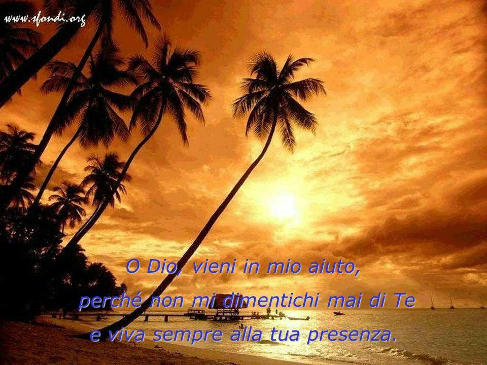 O Dio, vieni in mio aiuto, perché non mi dimentichi mai di Te perché non mi dimentichi mai di Te e viva sempre alla tua presenza.