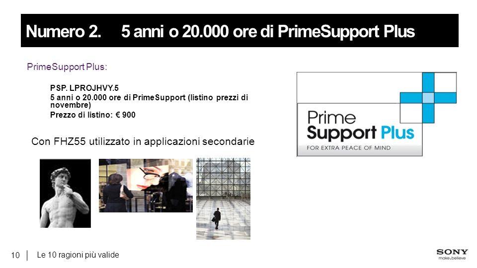 Le 10 ragioni più valide 10 Numero 2.5 anni o 20.000 ore di PrimeSupport Plus PrimeSupport Plus: PSP.