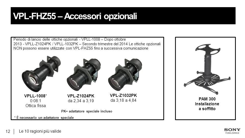Le 10 ragioni più valide 12 VPL-FHZ55 – Accessori opzionali VPL-Z1024PK da 2,34 a 3,19 VPLL-1008* 0:08:1 Ottica fissa VPL-Z1032PK da 3,18 a 4,84 PAM 300 Installazione a soffitto Periodo di lancio delle ottiche opzionali - VPLL-1008 – Dopo ottobre 2013 - VPLL-Z1024PK / VPLL-1032PK – Secondo trimestre del 2014 Le ottiche opzionali NON possono essere utilizzate con VPL-FHZ55 fino a successiva comunicazione * È necessario un adattatore speciale PK= adattatore speciale incluso