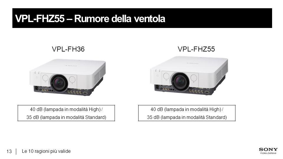 Le 10 ragioni più valide 13 VPL-FHZ55 – Rumore della ventola 40 dB (lampada in modalità High) / 35 dB (lampada in modalità Standard) 40 dB (lampada in modalità High) / 35 dB (lampada in modalità Standard) VPL-FH36VPL-FHZ55