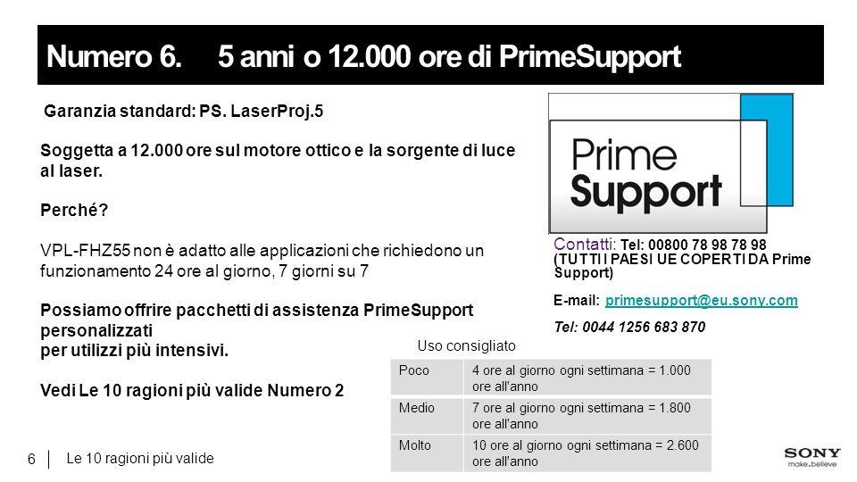 Le 10 ragioni più valide 6 Numero 6.5 anni o 12.000 ore di PrimeSupport Garanzia standard: PS.