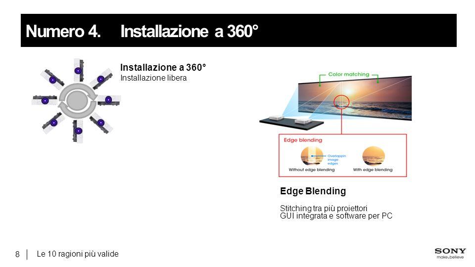 Le 10 ragioni più valide 8 Numero 4.Installazione a 360° Installazione a 360° Installazione libera Edge Blending Stitching tra più proiettori GUI integrata e software per PC