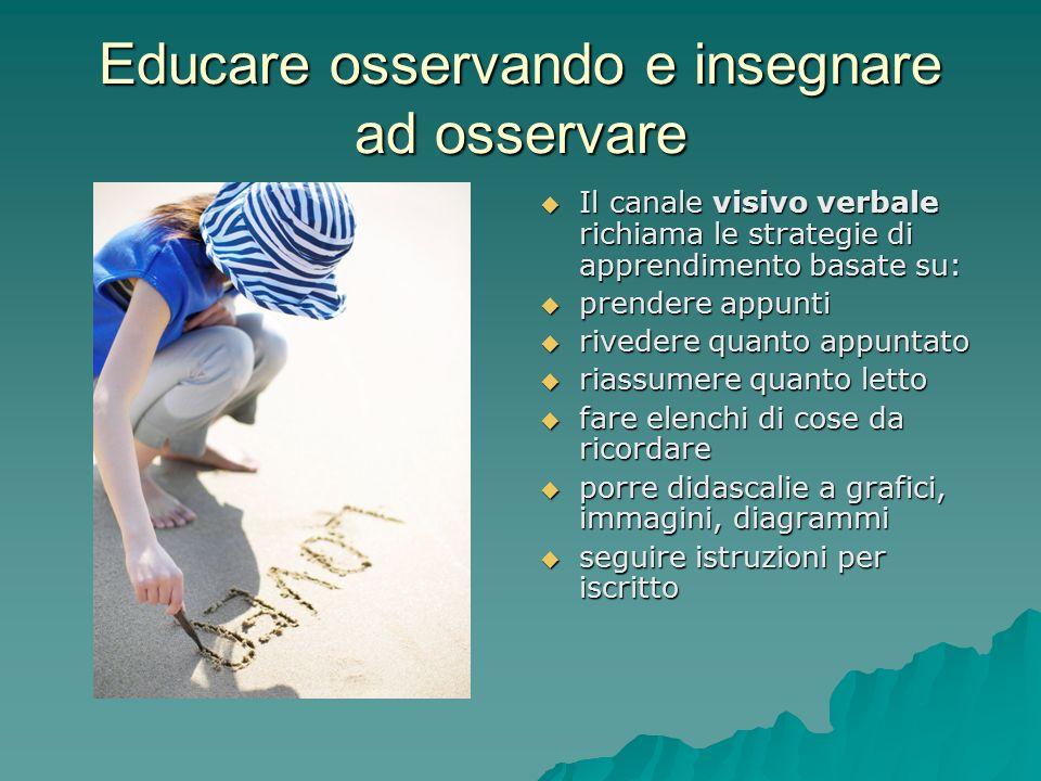 Educare osservando e insegnare ad osservare  Il canale visivo verbale richiama le strategie di apprendimento basate su:  prendere appunti  rivedere